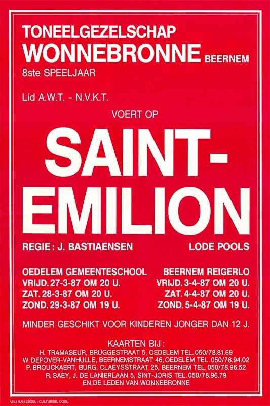 11_Affiche Saint-Emilion_productie Wonnebronne_voorjaar 1987